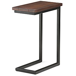 Simpli Home Skyler 18-Inch C Side Table in Dark Cognac Brown