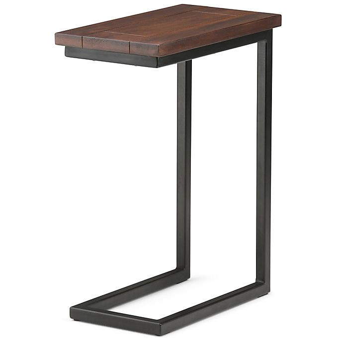 Simpli Home Skyler 18-Inch C Side Table in Dark Cognac Brown | Bed