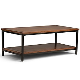 Simpli Home Skyler 48-Inch Coffee Table in Dark Cognac Brown
