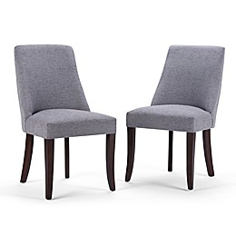 Simpli Home Walden Linen-Look Upholstered Dining Chair in Grey (Set of 2)