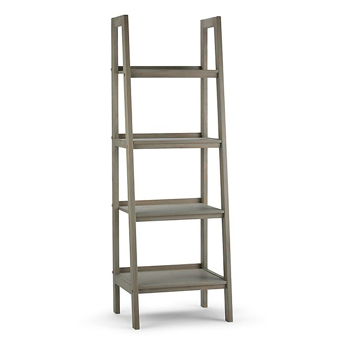 Alternate image 1 for Simpli Home Sawhorse 72-Inch Ladder Shelf Bookcase in Distressed Grey