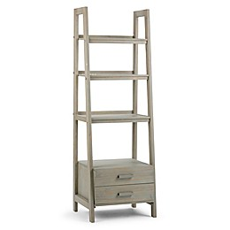 Simpli Home Sawhorse 72-Inch Ladder Shelf Bookcase with Storage Drawers