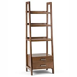 Simpli Home Sawhorse 72-Inch Ladder Shelf Bookcase with Storage Drawers