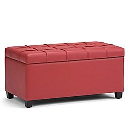 Simpli Home Sienna Storage Bench in Faux Leather