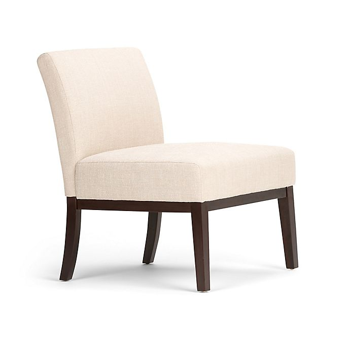 Alternate image 1 for Simpli Home Upton Linen Look Upholstered Accent Chair in Natural