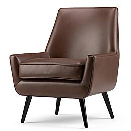 Simpli Home Warhol Mid-Century Air Leather Arm Chair
