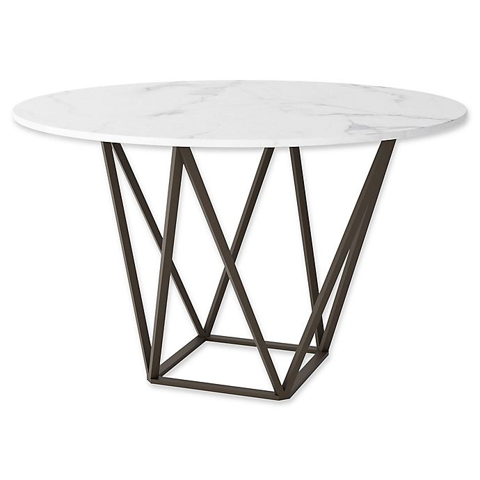 Alternate image 1 for Zuo® Tintern Dining Table in Stone/Antique Brass