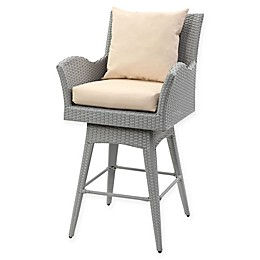 Safavieh Hayes All-Weather Wicker Swivel Armed Barstool