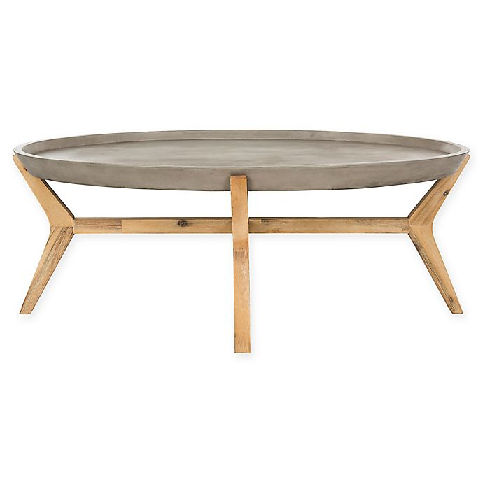 Alternate image 1 for Safavieh Hadwin Oval Concrete Outdoor Coffee Table in Dark Grey