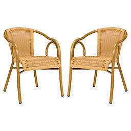 Safavieh Dagny Indoor/Outdoor Stacking Chair in Natural/Brown (Set of 2)