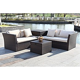 Safavieh Welch 4-Piece Outdoor PE-Wicker Sectional Set with Storage in Brown/Beige