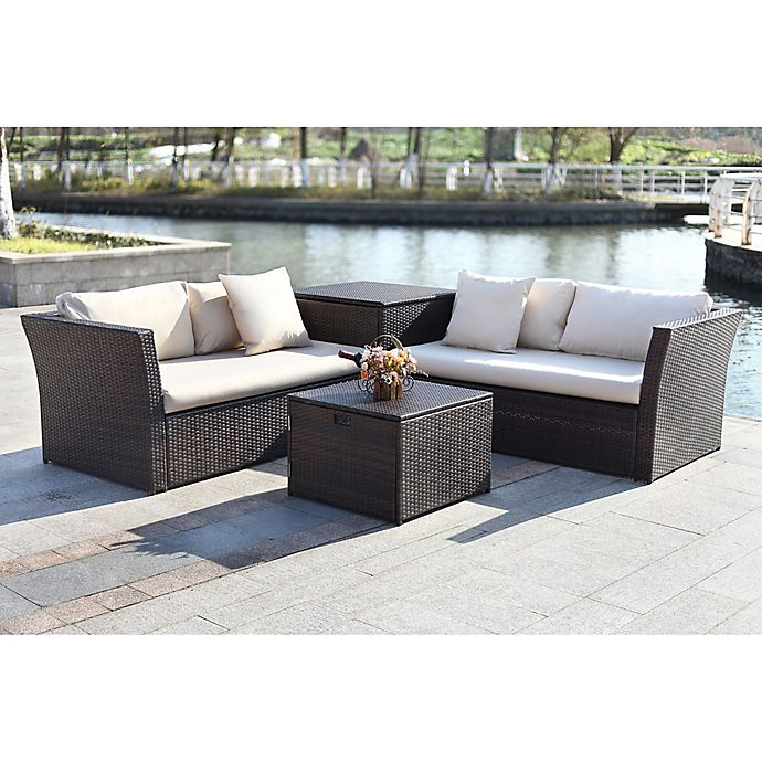 Alternate image 1 for Safavieh Welch 4-Piece Outdoor PE-Wicker Sectional Set with Storage in Brown/Beige