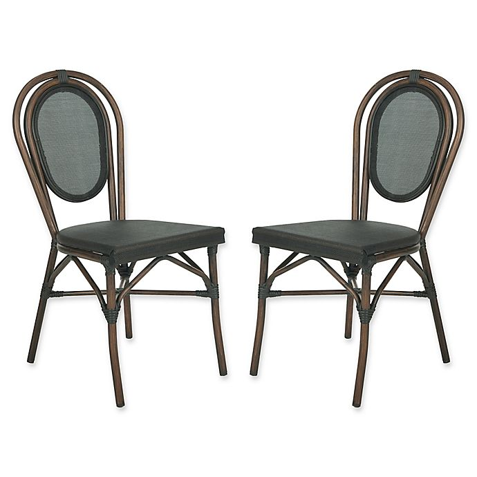 Alternate image 1 for Safavieh Ebsen All-Weather Side Chairs in Black (Set of 2)