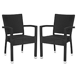 Safavieh Kelda All-Weather Stacking Arm Chairs in Black (Set of 2)