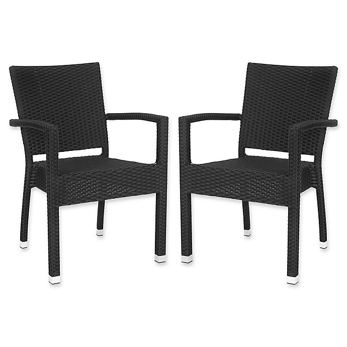 Alternate image 1 for Safavieh Kelda All-Weather Stacking Arm Chairs in Black (Set of 2)
