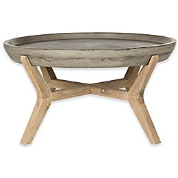Safavieh Wynn 33.4-Inch Round  All-Weather Coffee Table in Dark Grey