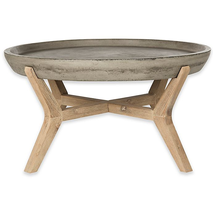 Alternate image 1 for Safavieh Wynn 33.4-Inch Round  All-Weather Coffee Table in Dark Grey