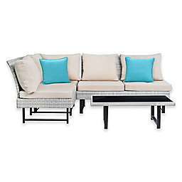 Safavieh Aleron Outdoor Sectional and Coffee Table Set in Beige/Teal