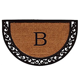 Home & More Ornate Scroll Monogram Letter 18-Inch x 30-Inch Slice Door Mat