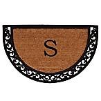 Home & More Ornate Scroll Monogram Letter  S  18-Inch x 30-Inch Slice Door Mat