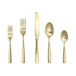 Fortessa® Lucca Faceted 5-Piece Flatware Place Setting in Brushed Gold