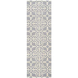 Safavieh Cambridge 2-Foot 6-Inch x 16-Foot Ava Wool Rug in Silver/Ivory