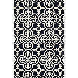 Safavieh Cambridge 4-Foot x 6-Foot Ava Wool Rug in Black/Ivory