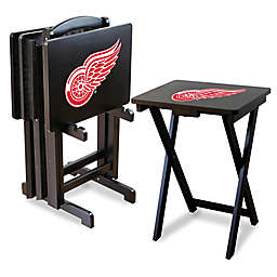 NHL Detroit Redwings TV Tray Table Set with Storage Rack (Set of 4)