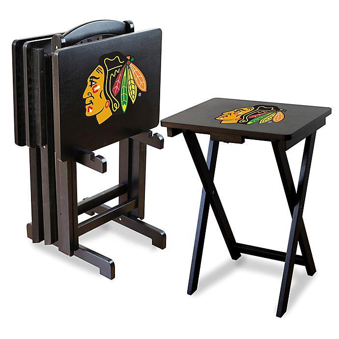 Alternate image 1 for NHL Chicago Blackhawks TV Tray Table Set with Storage Rack (Set of 4)