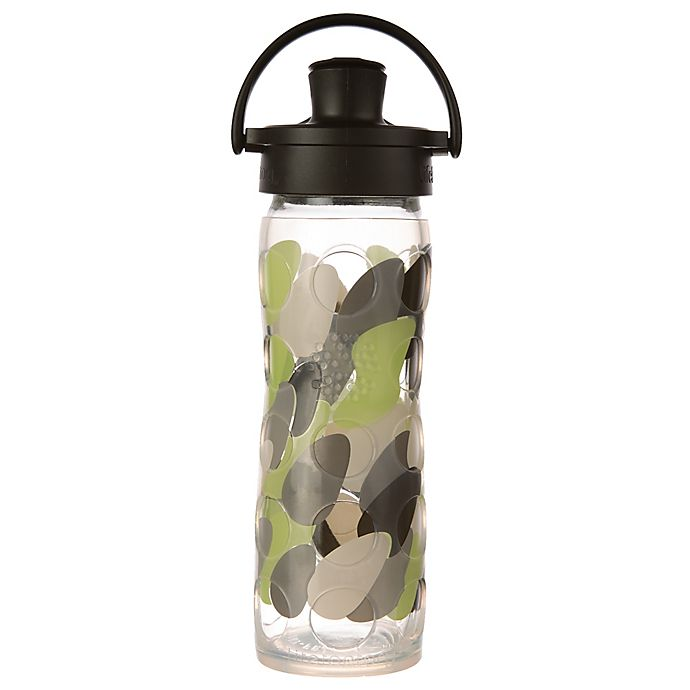 Alternate image 1 for Lifefactory® 16 oz. Glass Water Bottle with Flip Cap in Green