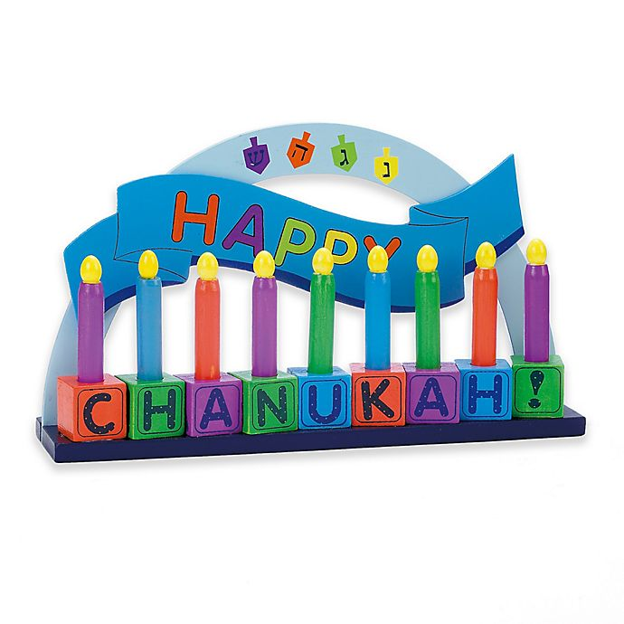 Alternate image 1 for Rite Lite Children's Wooden Menorah with Wooden Candles