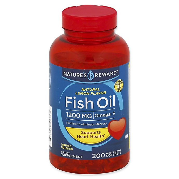 Alternate image 1 for Nature's Reward 200-Count 1200 mcg Fish Oil Quick Release Softgels in Natural Lemon Flavor