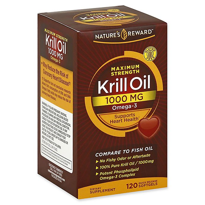 Alternate image 1 for Nature's Reward 120-Count 1000 mg Maximum Strength Krill Oil Quick Release Softgels