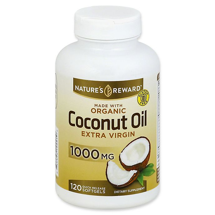 Alternate image 1 for Nature's Reward 120-Count 1000 mg Extra Virgin Coconut Oil Quick Release Softgels