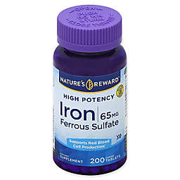 Nature's Reward 200-Count High Potency 65 mg Ferrous Sulfate Iron Coated Tablets
