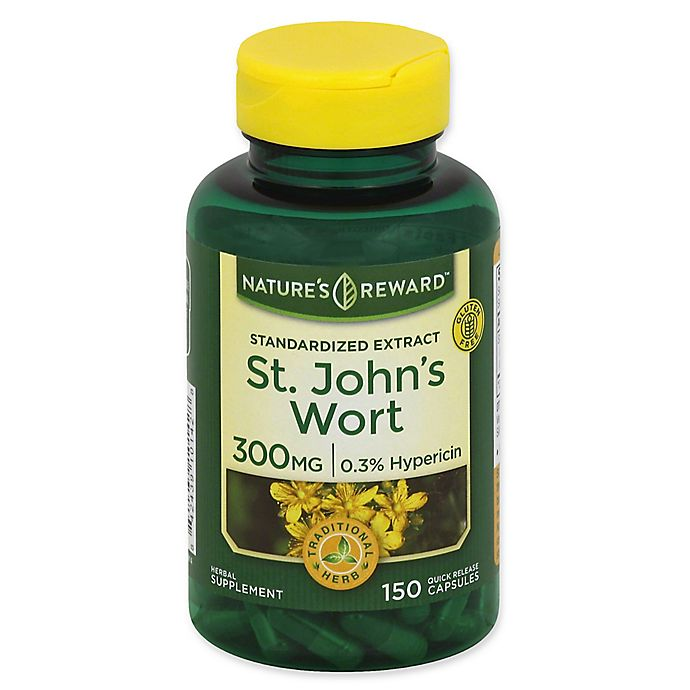 Alternate image 1 for Nature's Reward 150-Count 300 mg St. John's Wort Standardized Extract Quick Release Capsules