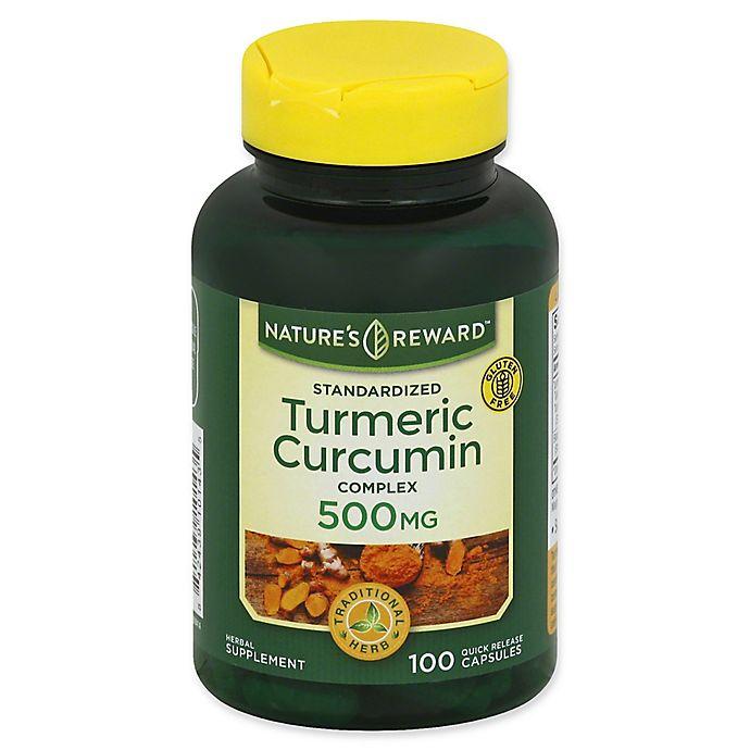 Alternate image 1 for Nature's Reward 100-Count 500 mg Standardized Turmeric Curcumin Complex Quick Release Capsules
