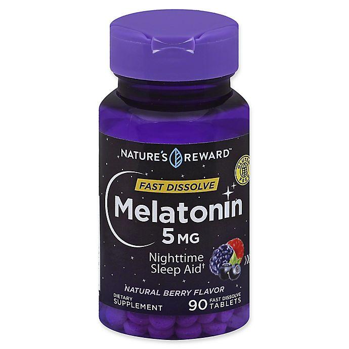 Alternate image 1 for Nature's Reward™ 90-Count 5 mg Melatonin Fast Dissolve Tablets in Natural Berry Flavor