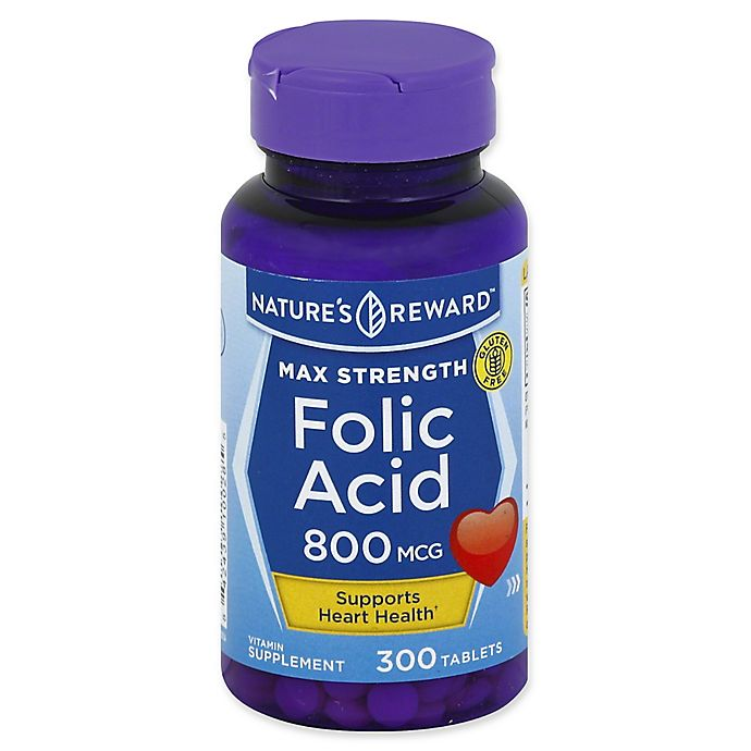 Alternate image 1 for Nature's Reward 300-Count 800 mcg Max Strength Folic Acid Tablets