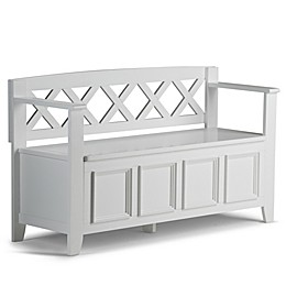 Simpli Home Amherst Entryway Bench in White