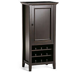 Simpli Home Amherst Storage Wine Rack in Dark Brown