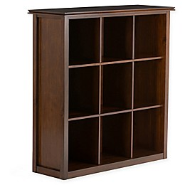 Simpli Home Artisan 45-Inch 9 Cube Storage in Auburn Brown