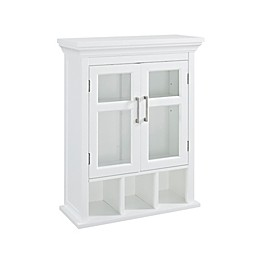 Simpli Home Avington 10-Inch Wall Cabinet with Cubbies in White
