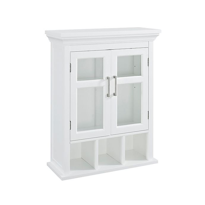 Alternate image 1 for Simpli Home Avington 10-Inch Wall Cabinet with Cubbies in White