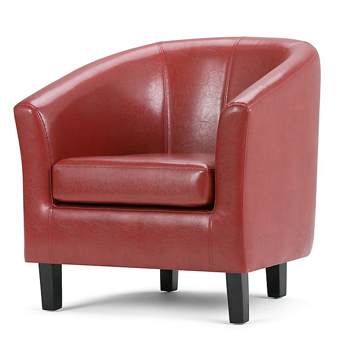 Alternate image 1 for Simpli Home Austin Faux Leather Tub Chair in Red