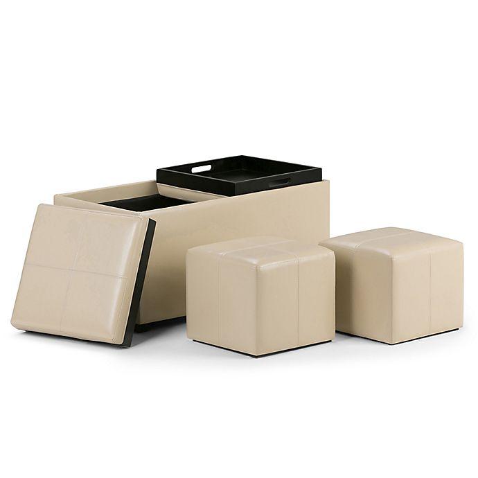 Alternate image 1 for Simpli Home Avalon 5-Piece Storage Ottoman