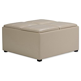 Simpli Home Avalon Faux Leather Coffee Table Storage Ottoman