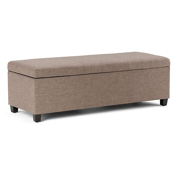 Alternate image 1 for Simpli Home Avalon 48-Inch Linen-Look Storage Bench