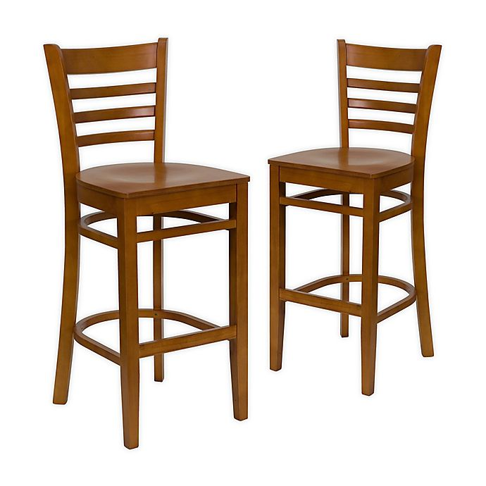Alternate image 1 for Flash Furniture Ladder Back Wood Bar Stools in Cherry (Set of 2)