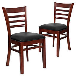 Flash Furniture Ladder Back Chairs in Vinyl/Wood (Set of 2)